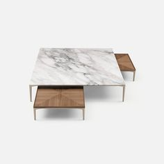 Tray coffee tables with structure in palladio aluminum and calacatta marble and walnut top