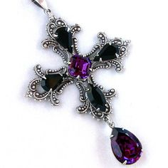 Crystal Cross Necklace Gothic Purple and Black by Aranwen on Etsy, €50.00