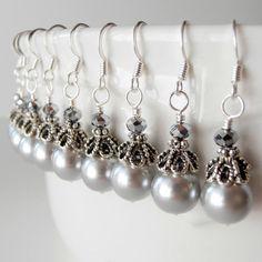 Bijoux de mariage gris inspiré Vintage gris perle boucles d'oreilles demoiselle d'honneur boucles d'oreilles perles Dangles argent perle bijoux Party Guenièvre sur Etsy, 10,61€