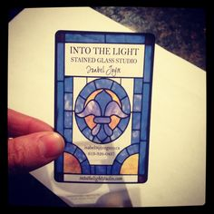 Business card I designed for my moms stained glass company. Printed on clear plastic cards. - Imgur