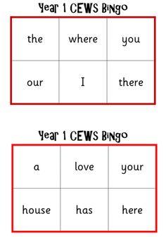 Year 1 Common Exception Word Bingo