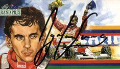 Souvenir Grand Prix Card autographed by Ayrton Senna. #SennaSempre #AyrtonSenna #RacingMemorabilia #F1