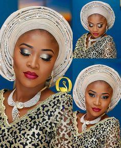 Beautiful! #LoveHerLooks Makeup and Gele by @oshewabeauty #NaijaWedding #9naijaBrides