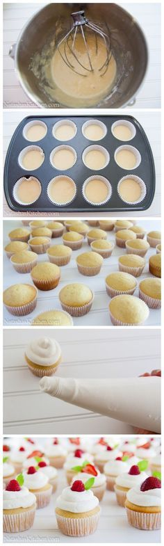 I'm pretty sure I need to make vanilla cupcakes with whipped frosting and a raspberry on top. Freshness for summer.