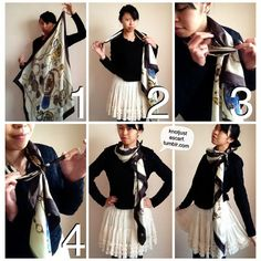 Today's Tutorial #89 is the Cravate Fluide, as inspired by Hermes' Knotting Cards. Grab a corner of your square scarf and then hold that and drag the scarf around the back of your neck. Tie the corner you grabbed to the scarf around your neck and you get this cool pleated and almost ribbony long thin scarf look!Giveaways on now at this scarf blog's official Facebook page!
