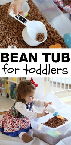 Bean Sensory Tub for Toddlers:  Such a fun and simple way to let toddlers dump and fill!