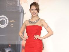 Taiwanese model and actress Hannah Quinlivan attended a launch event for Philip`s new coffeemaker in Taipei, Taiwan, September 15, 2014.