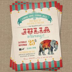 Vintage Circus Birthday Invitation Circus by freshlysqueezedcards, $13.00