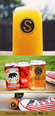 The Snake Bite Beer Pint Glass Set - Great holiday gift for the beer lover in your life!  100% made and printed in the USA.