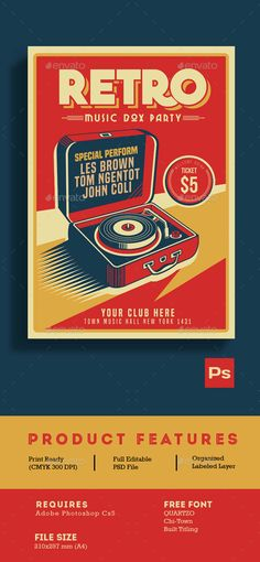 Retro Music Box Party Flyer Template PSD. Download here: http://graphicriver.net/item/retro-music-box-party/15215685?ref=ksioks