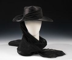 Mourning hat Department Store: Henri Bendel (American, founded 1895) Date: ca. 1915 Culture: American Medium: straw, silk, plastic, metal Dimensions: 4 1/2 x 16 in. (11.4 x 40.6 cm) Credit Line: Brooklyn Museum Costume Collection at The Metropolitan Museum of Art, Gift of the Brooklyn Museum, 2009; Gift of Mrs. Frederick H. Prince, Jr., 1967 Accession Number: 2009.300.1577