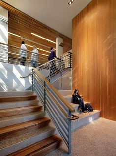 stair tread material change: Biomedical Sciences Facility, University of California in Santa Cruz, California by EHDD. Photography by Matthew Millman.