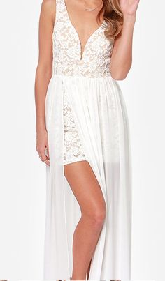 lace bodycon dress with sheer maxi skirt