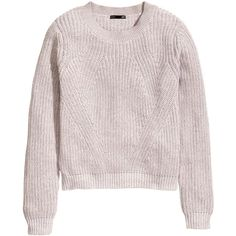 H&M Knitted jumper (35 PLN) ❤ liked on Polyvore featuring tops, sweaters, h&m, light grey, jumper top, light gray sweater, h&m tops, light grey sweater and h&m sweaters