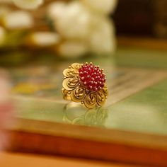 Latest Designs of Gold Rings for Women - FashionShala Gold Jhumka Earrings, Gold Earrings Designs, Gold Jewellery Design, Indian Earrings, Designer Jewellery, Gold Jewelry Simple, Gold Rings Jewelry, Jewelery, Latest Gold Ring Designs