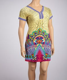 Take a look at this Yellow & Pink Peacock Short-Sleeve Dress - Plus by White Mark on #zulily today!