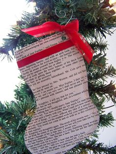 "christmas stocking is hand crafted from recycled pages from Miss Austen's classic novel ""Emma."""