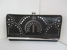Boxed Purse Clutch Black Silver Ethnic Cut Out Design New Faux Leather
