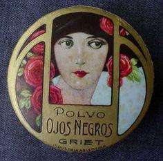 ANTIQUE ART DECO 'OJOS NEGROS' by GRIET POWDER BOX | eBay