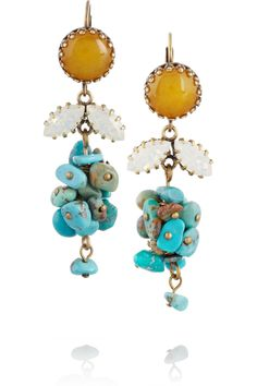 Isabel Marant|Gold-tone, turquoise and Swarovski crystal earrings|NET-A-PORTER.COM