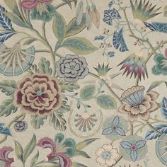 Cleo Fabric in Plum, Blue and Flax   Floral Fabric Floral Fabric, Blue Fabric, Anna French, Matching Wallpaper, Designer Wallpaper, Large Prints, Printing On Fabric, Painting, Plum