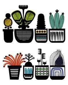Mod Bohemian Art Illustration by Stephen Crowhurst Cacti Cactus (via Print & Pattern) Illustration Cactus, Pattern Illustration, Art And Illustration, Illustrations And Posters, Textile Patterns, Print Patterns, Pattern Print, Textiles, Op Art