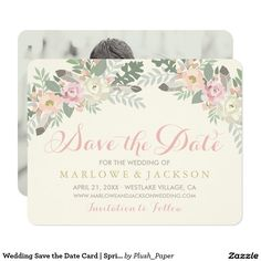 Wedding Save the Date Card | Spring Boho Florals This elegant boho style wedding save the date design features romantic peony flowers, botanical leaves, and rustic bird feather accents. Personalize with custom text for your big event and with a favorite engagement photo to the back of the card. Soft color scheme includes shades of pink, peach, cream, green, gray, and gold.