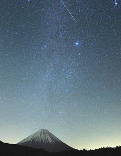 Volcano beneath the stars + one lucky falling star -- great shot!