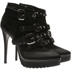 f2f521b300f Burberry Leather and suede platform ankle boots (£695) Black Suede Boots