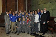 Senator Luechtefeld congratulates the state champion Nashville high school women's basketball team.