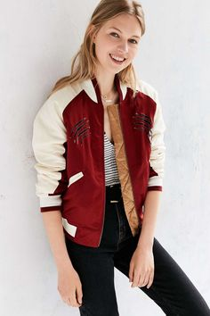 Silence + Noise Maroon Satin Embroidered Bomber Jacket
