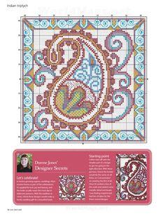 Cross-stitch Henna Trio, part 3.. color chart on part 2…