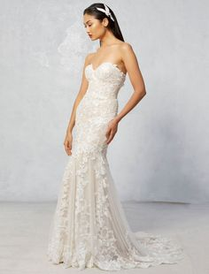Raven   Ivy & Aster Fall 2017 Collection   strapless nude lace wedding dress