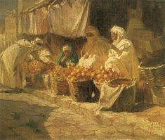 Peinture d'Algérie :PeintrePolonaisAdam Styka(1890 - 1959) ,Huile sur toile, Titre :  Marché d'oranges .