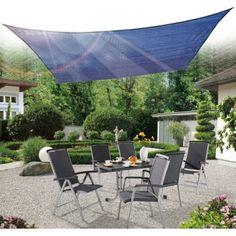 Buy Square Sun Sail Shade Garden Shade Awning With Free Ropes 3.6m Navy Blue |Homcom