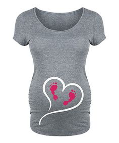 Belly Love Athletic Heather Heart Footprints Maternity Scoop Neck Tee | zulily