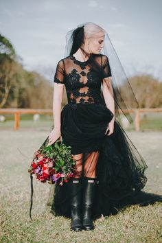 Black embroidered wedding gown with tulle skirt // Black Tie and Berry-Toned Styled Shoot on a Cuddly Animal Farm