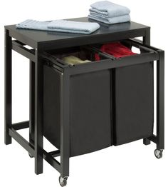 Reclaimed wood laundry room folding table by Down to Earth Style