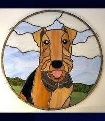 Airedale stained glass hanging window