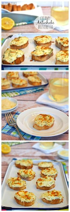 Creamy and Cheesy Artichoke Bruschetta! Artichoke Baked right onto crispy bruschetta bread. Why have I never tried that? AMAZING - The Cookie Rookie