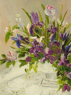 ORIGINAL Oil Painting Romantic 18 X 24 Palette Knife Colorful Flowers Green Vase Purple Romantic Iris  ART by Marchella. $245.00, via Etsy.