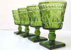 Vintage Glassware - Colony Park Lane Green on Etsy, £15.47