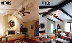 Have wood beams in your home that have been painted and you want to make them look like wood again? No need to sand or use a stripper, gel stain works wonders, and it does so quickly and easily! You'll bring back your home's rustic glory in no time! #gelstain #woodbeams #generalfinishesjava