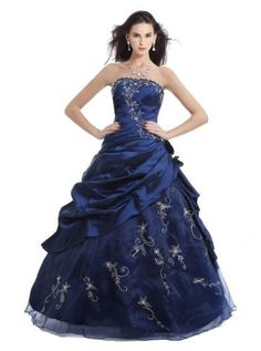 Faironly M37 Strapless Navy Prom Dress Stock, Size|M