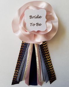 Navy Blue and Blush with Gold Chevron Bridal Shower Bride to Be Pin