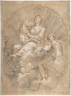 'Allegorical Figure of Purity with a Unicorn'  Marcantonio Franceschini (Italian, Bologna 1648–1729 Bologna)  Date: 1688–89