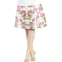 INC Womens Plus Tropical Print Knee-Length A-Line Skirt