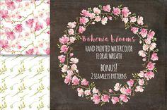 Watercolor wreath: Bohenia flowers by Lolly's Lane Shoppe on Creative Market