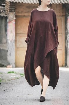 Modern Zen Retro Long Sleeve Maxi Dress - Spiritual Clothing
