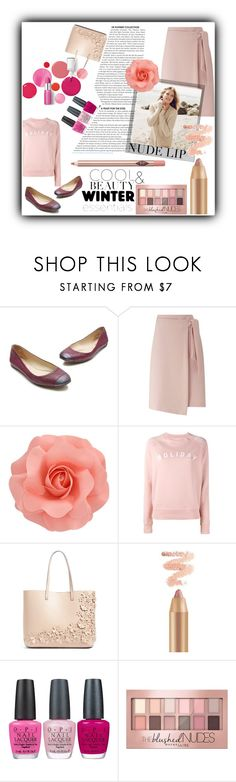 """""""The Perfect Nude Lip #3"""" by elisabetta-negro ❤ liked on Polyvore featuring beauty, Clinique, Reed Krakoff, Miss Selfridge, Polaroid, Repeat Cashmere, Chelsea28, OPI, Maybelline and Charlotte Tilbury"""
